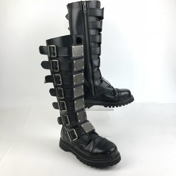745b56a4f5ab Demonia Shoes - Demonia Reaper Leather Boots Goth Punk Buckles Dom